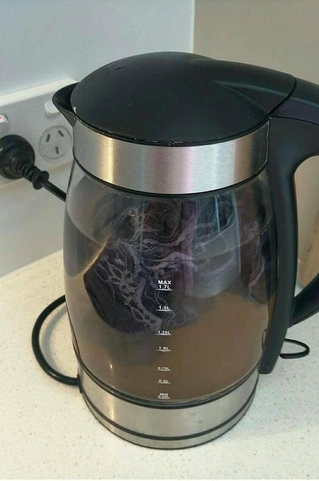 woman's underwear in tea pot