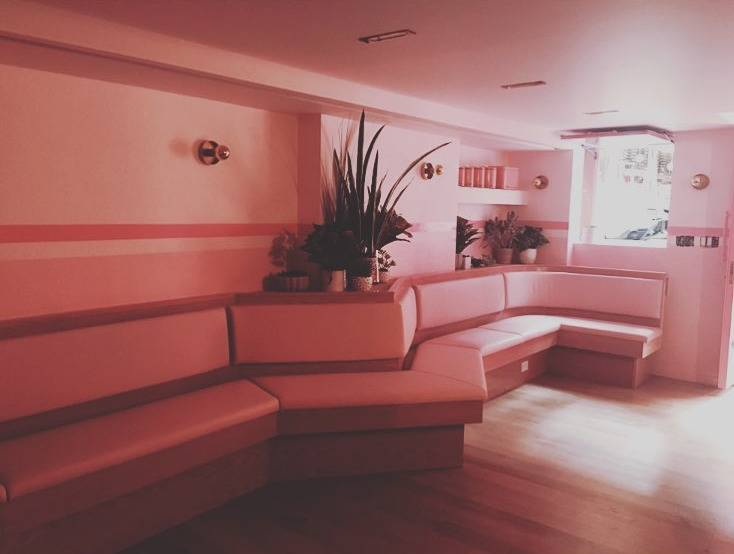 pink benches and walls with plants