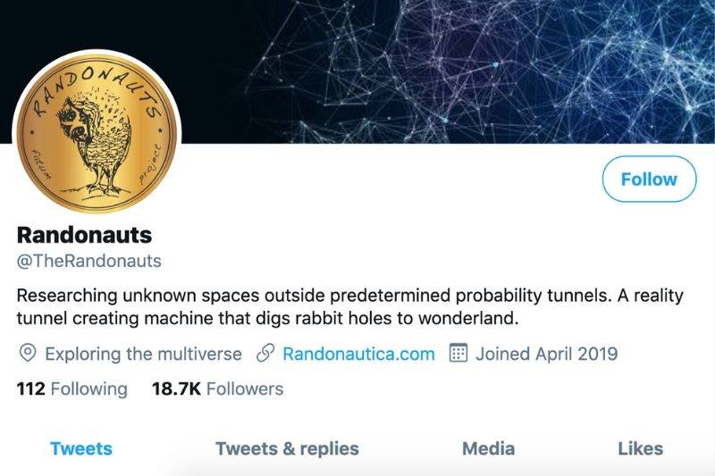 a twitter page for Randonauts