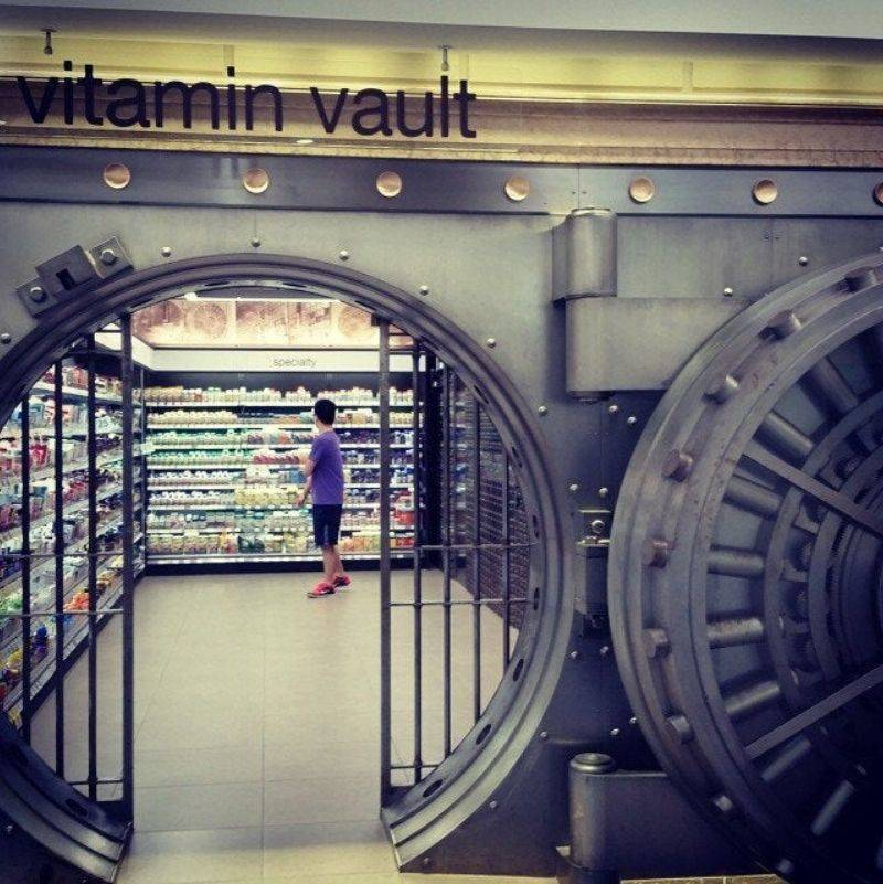 an old bank is a vitamin store