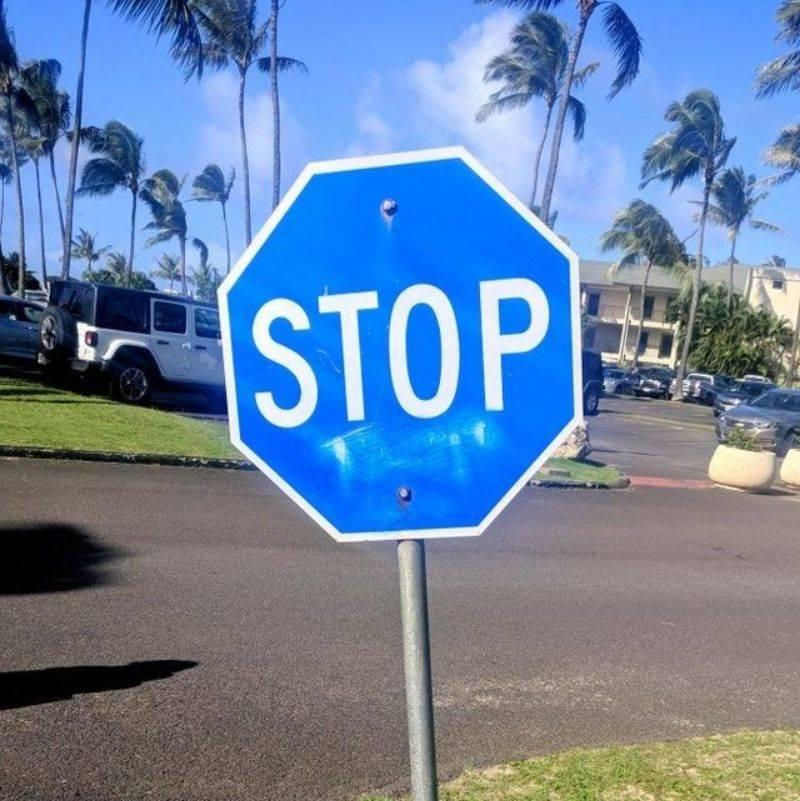 a blue stop sign