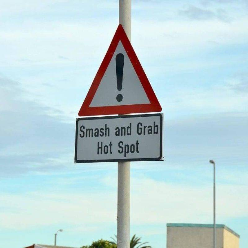 a smash and grab hot spot sign