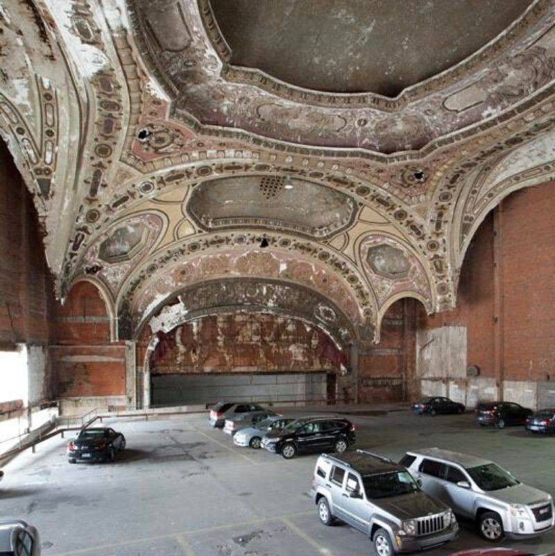 an old theatre made into a parking garage