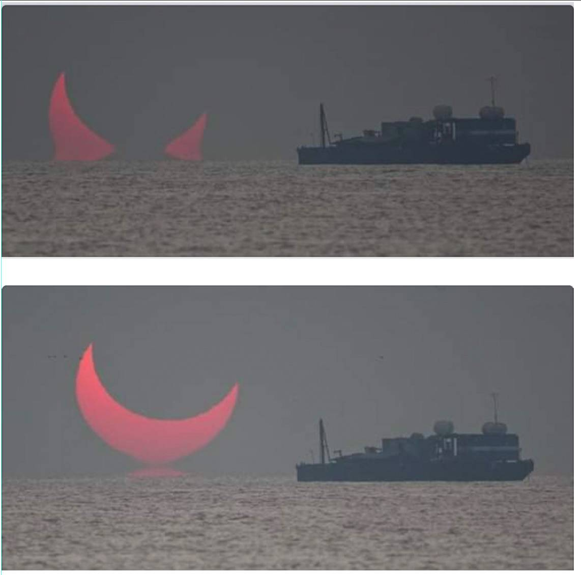 partial solar eclipse captured at sunset