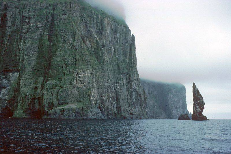 Steep cliffs are seen at Bear Island, Norway.