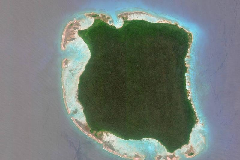 North Sentinel Island is seen from an aerial view.