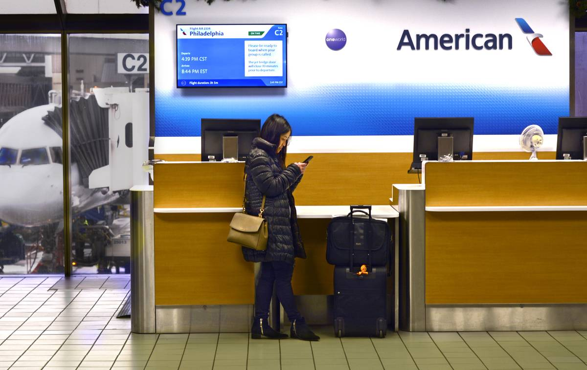 passenger at american airlines counter