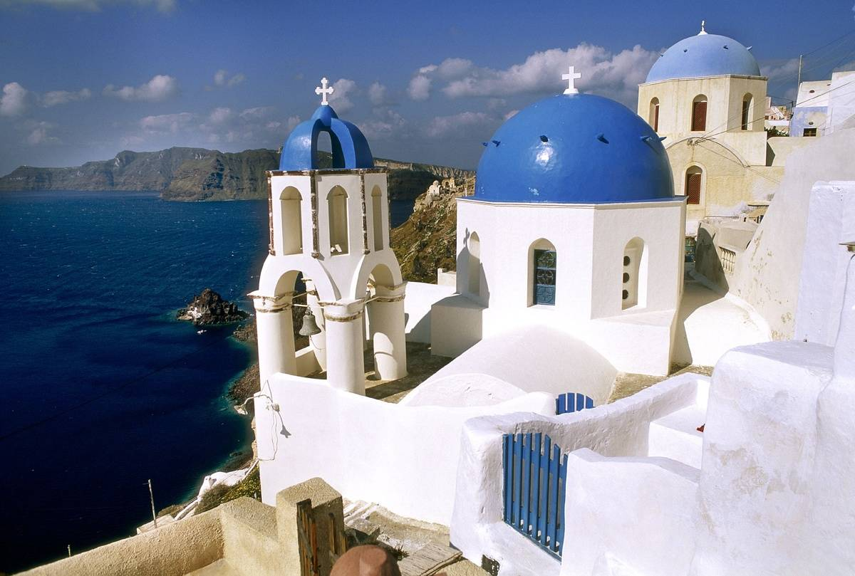 High angle view of a church in a town, Santorini, Cyclades Islands, Southern Aegean, Greece