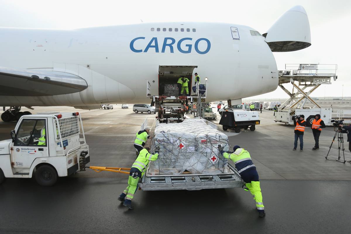 loading shipments on plane in germany