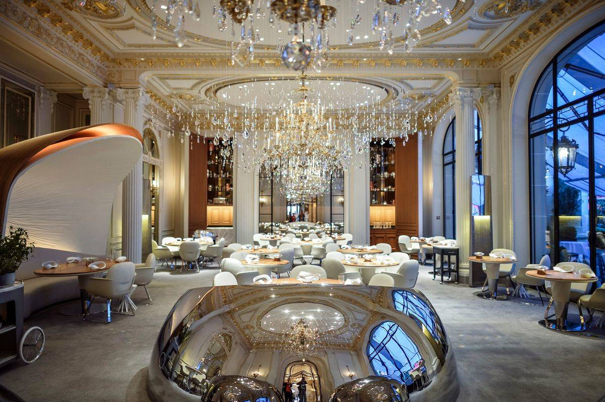 A picture taken in Paris on September 2, 2014 shows Alain Ducasse's restaurant at the Plaza Athenee hotel