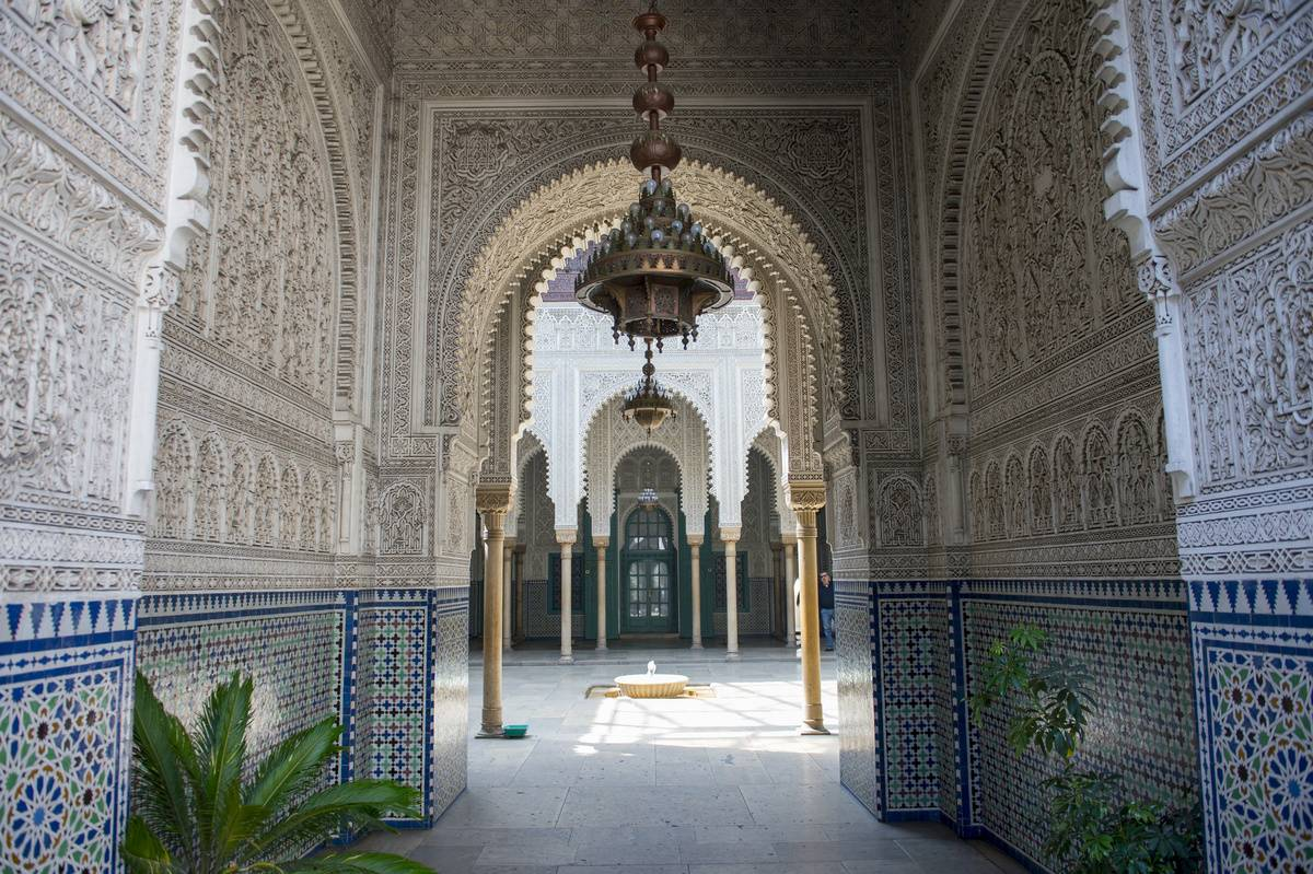 Inside the Mahkama du Pacha, a working courthouse, in Habous, one of the neighborhoods of the city of Casablanca in Morocco