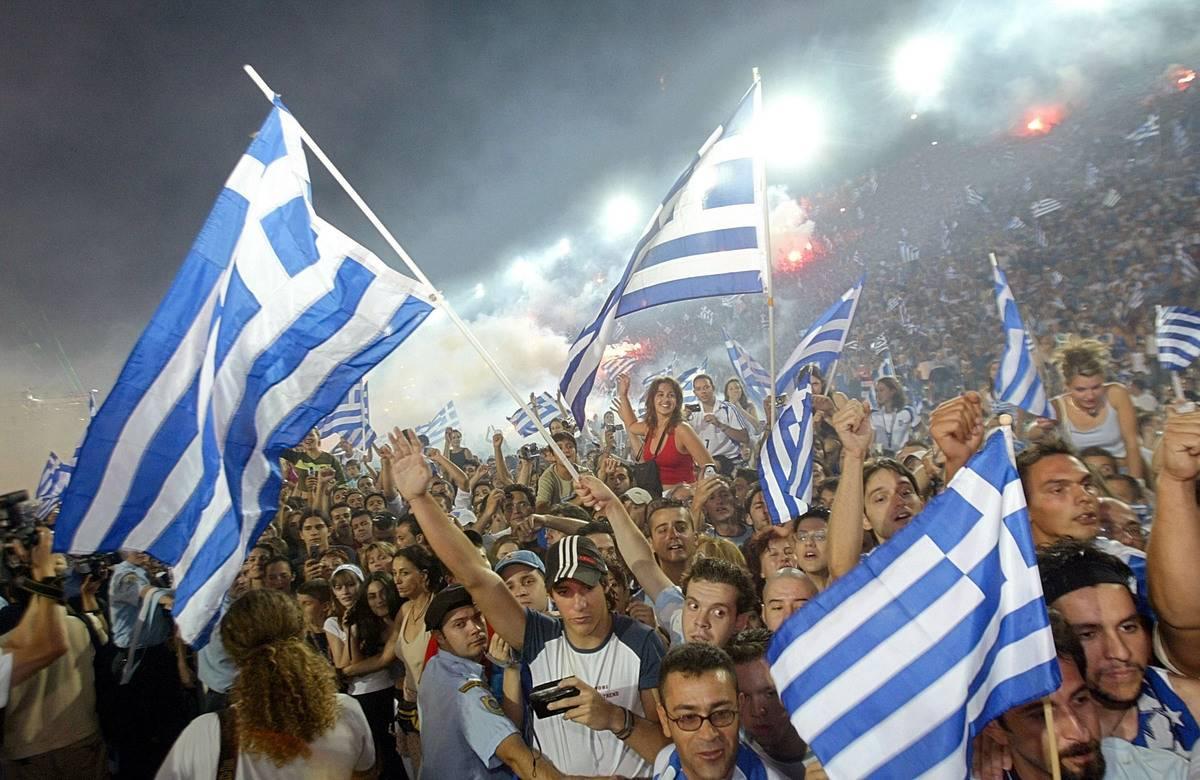 greeks celebrating soccer team return