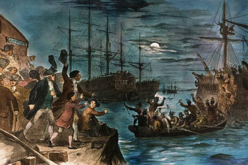 Boston Tea Party destroying tea in Boston Harbor December 16, 1773