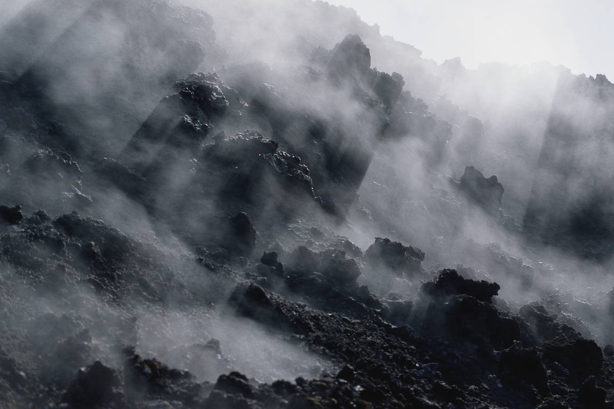 Lava freezes into land mass on Surtsey Island.