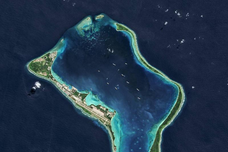 A military base on Diego Garcia island is seen from above.