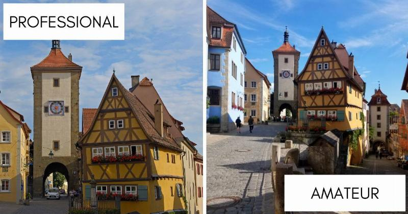 Photos of the Plonlein, Kobolzeller Steige and Spitalgassein in the medieval old town of Rothenburg ob der Tauber in Bavaria, Germany