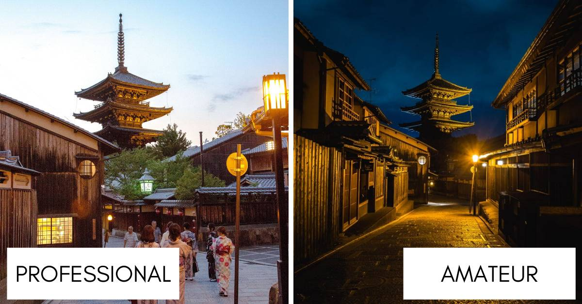 pagoda at kiyomizu-dera in kyoto shot by professional in day vs. traveller at night