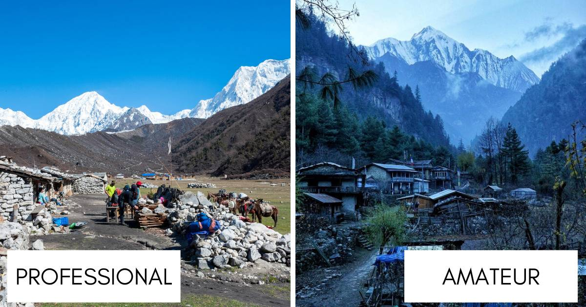 two photographs from small villages in nepal looking at mountains