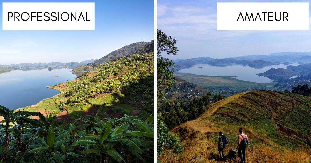 photos of lake mutanda near Kisoro, uganda amongst green hills