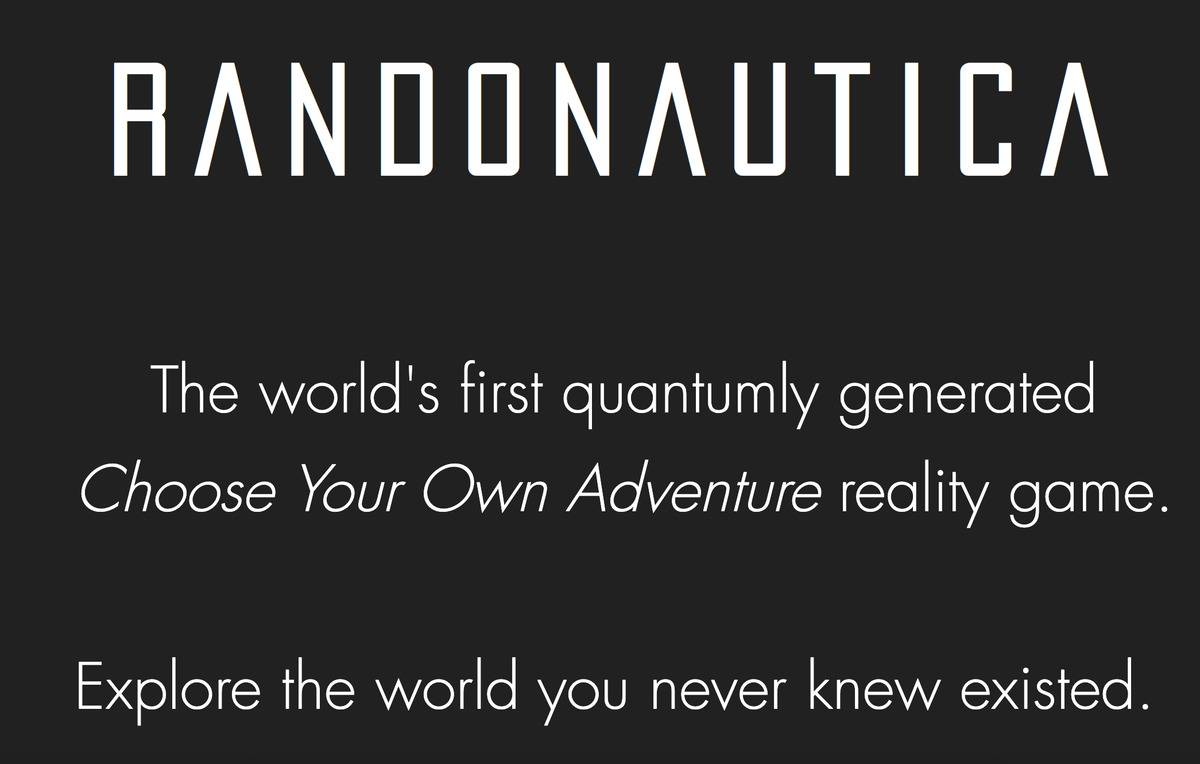 the welcome screen from the Randonautica website