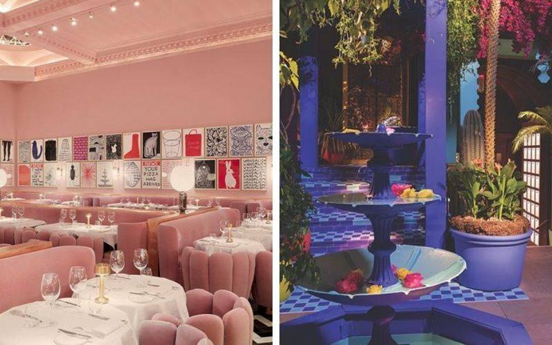 pink room and jungle like rooms in restaurant