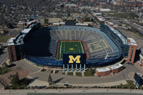 aerial view of the Michigan Stadium at University of Michigan in Ann Arbor, Michigan