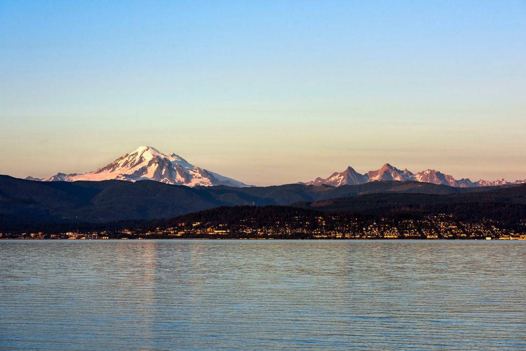sunset at Mt. Baker with a view of the mountain and water in Bellingham, Washington