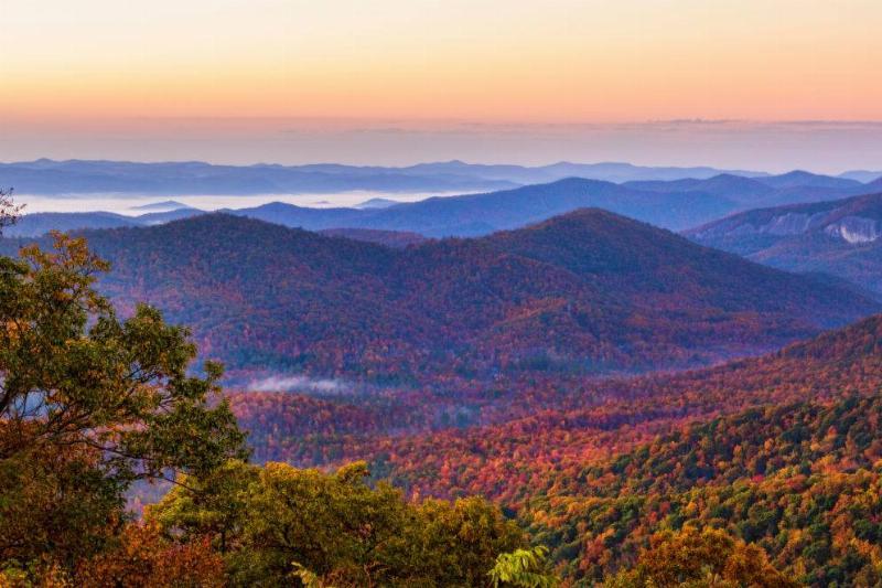 colorful mountains at sunset in Brevard, North Carolina