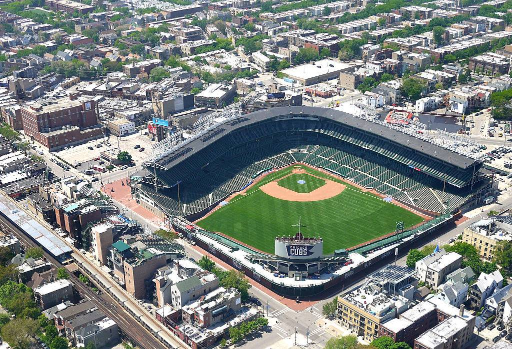 aerial view of wrigley field in chicago, illinois