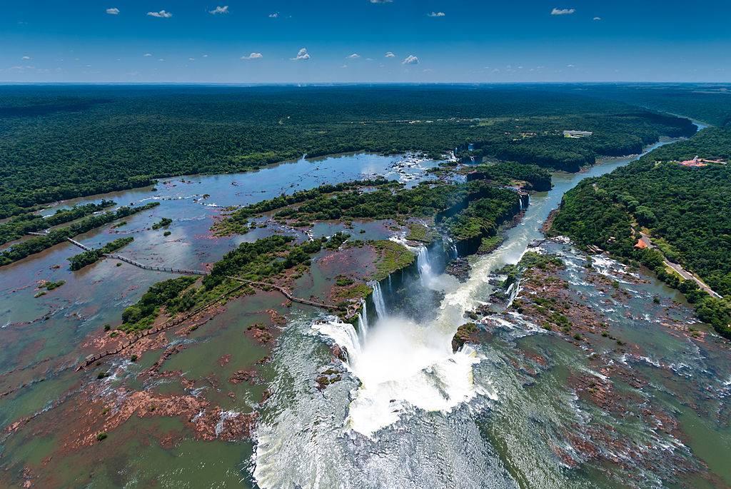 a panoramic shot of the waterfalls at iguazu falls