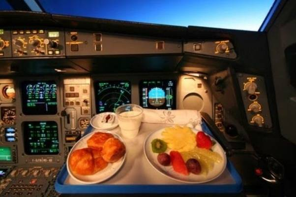 meal during flight in cockpit