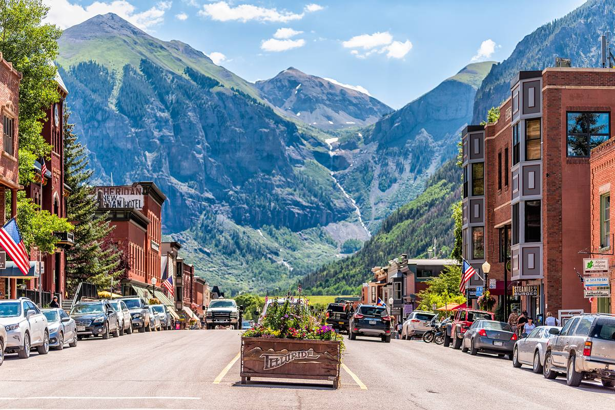 a street overlooking the mountains in Telluride, Colorado