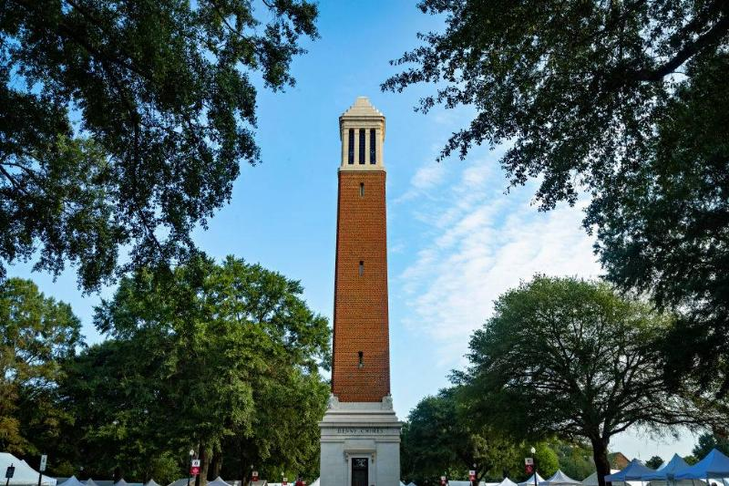a bell tower at the university of alabama in Tuscaloosa, Alabama