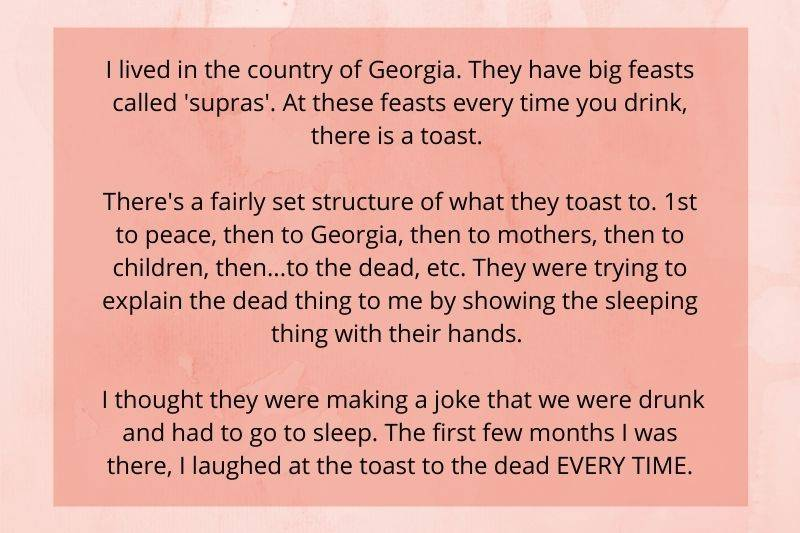 someone laughed during the toast to the dead