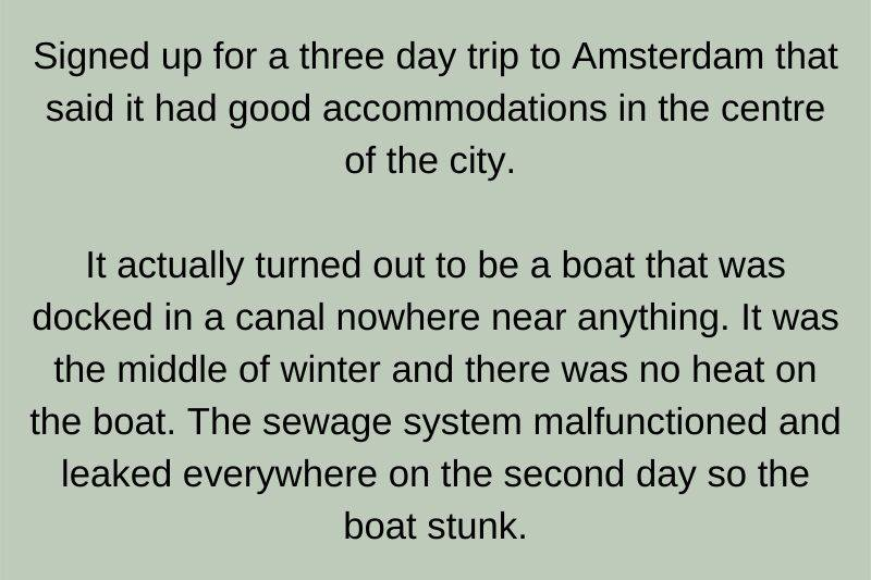 someone ended up being stuck on a boat in Amsterdam