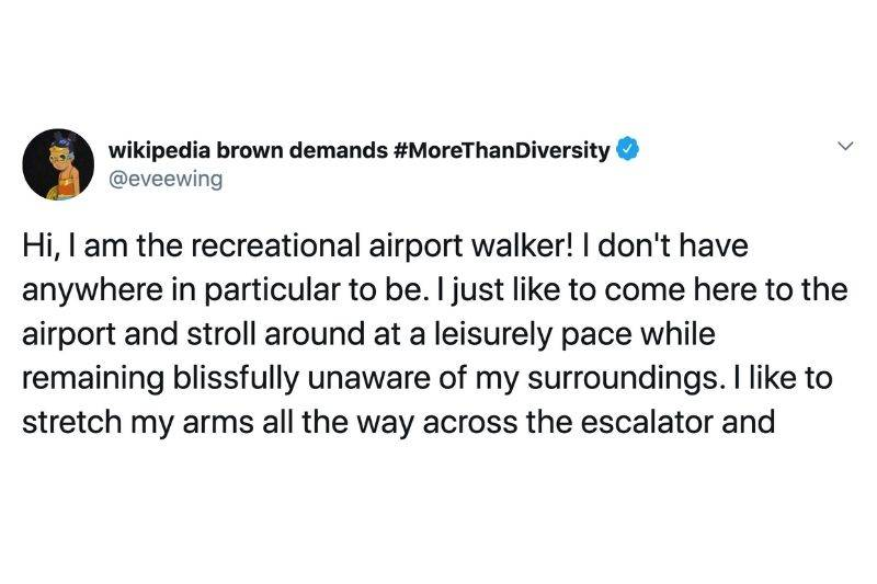 Tweet: Hi, I am the recreational airport walker! I don't have anywhere in particular to be. I just like to come here to the airport and stroll around at a leisurely pace while remaining blissfully unaware of my surroundings. I like to stretch my arms all the escalator and