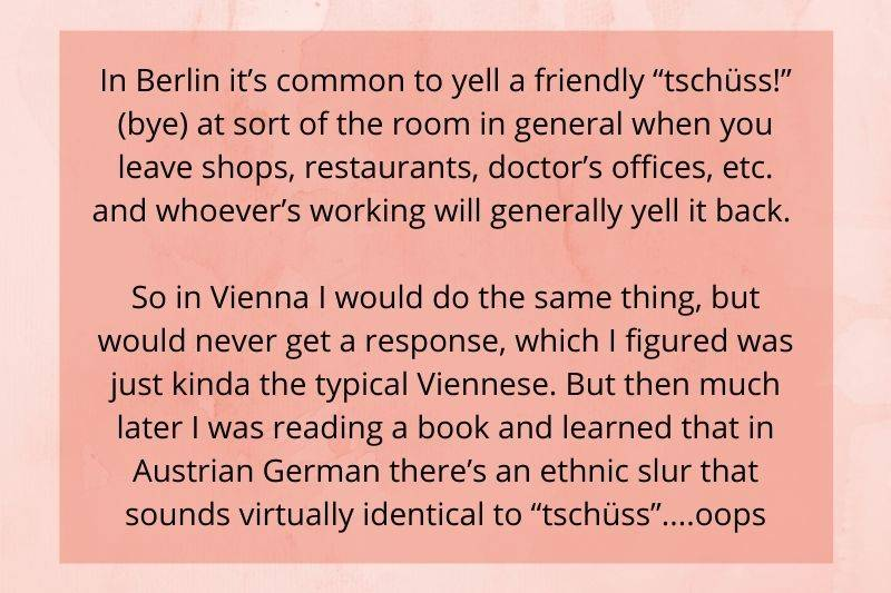 someone was accidentally saying a mean word when they were in Vienna