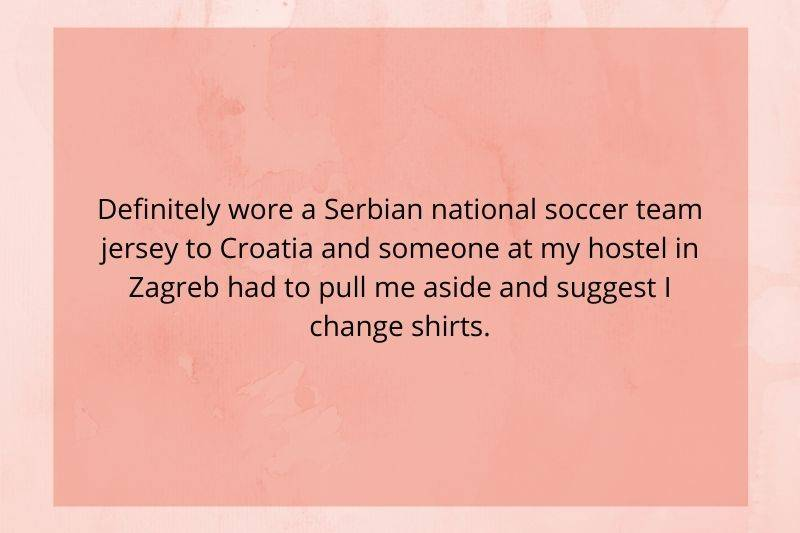 someone wore the wrong soccer jersey in a city