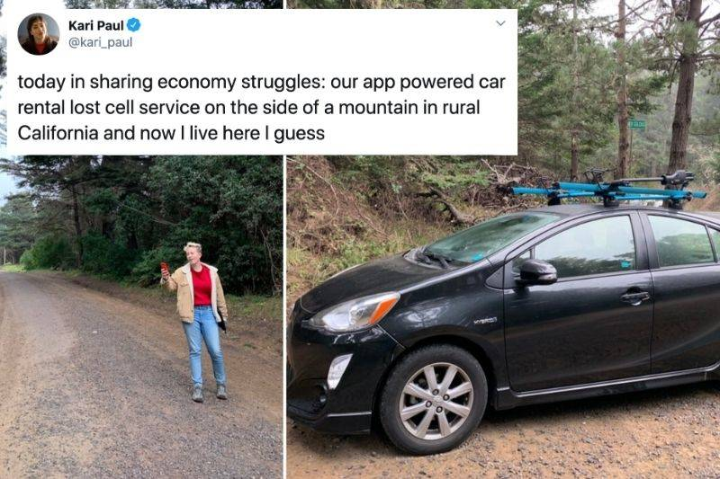 Tweet: Today in sharing economy struggles: our app powered car rental lost cell service on the side of a mountain in rural California and now I live here I guess
