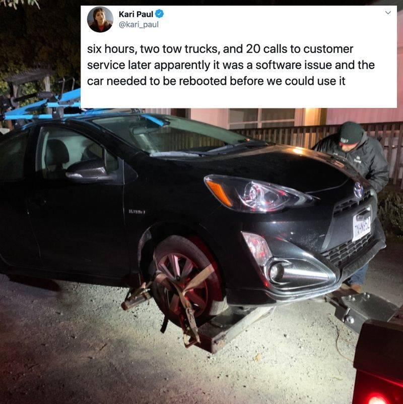 Tweet: six hours, two tow trucks, and 20 calls to customer service later apparently it was the software issue and the car needed to be rebooted before we could use it