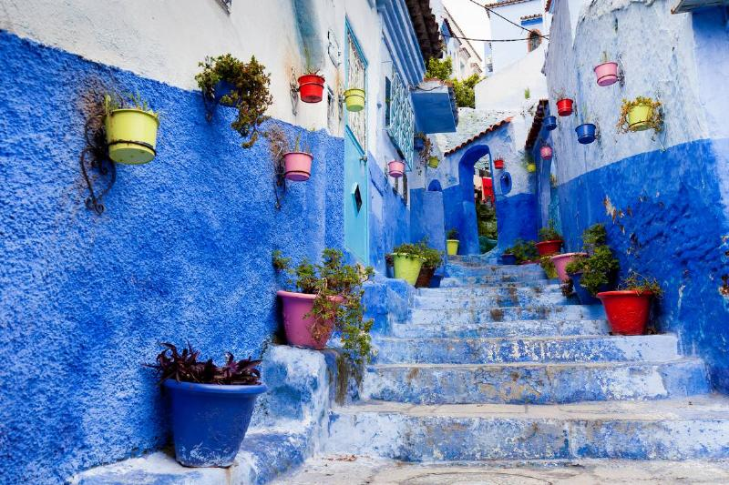 Colorful alley with flowers hanging on the walls