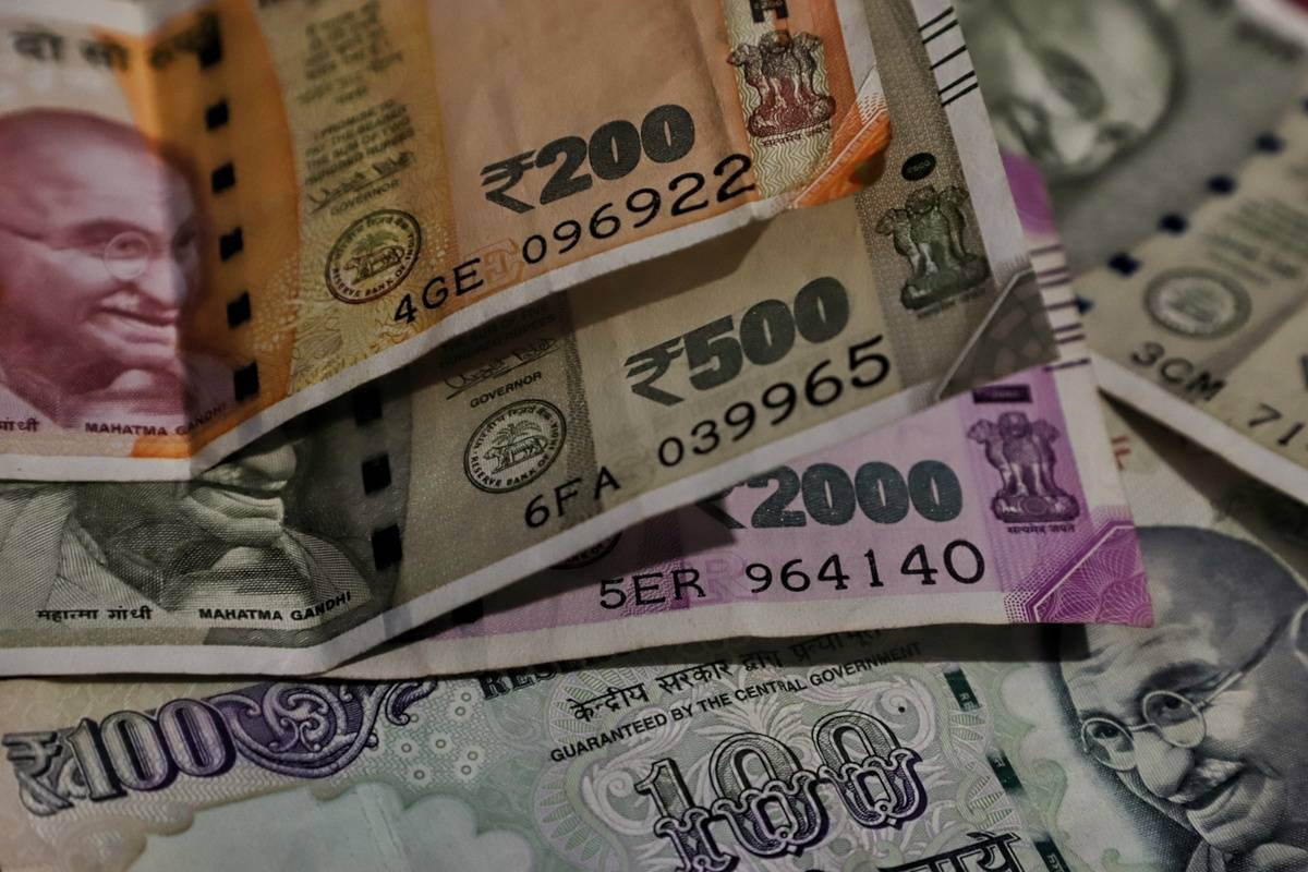 stack of indian rupees