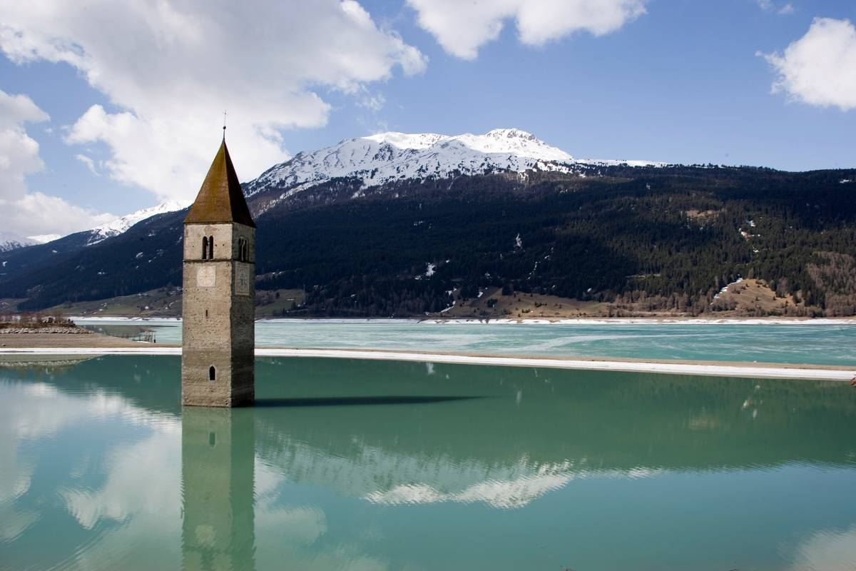 south tyorl italy lake reschen bell tower