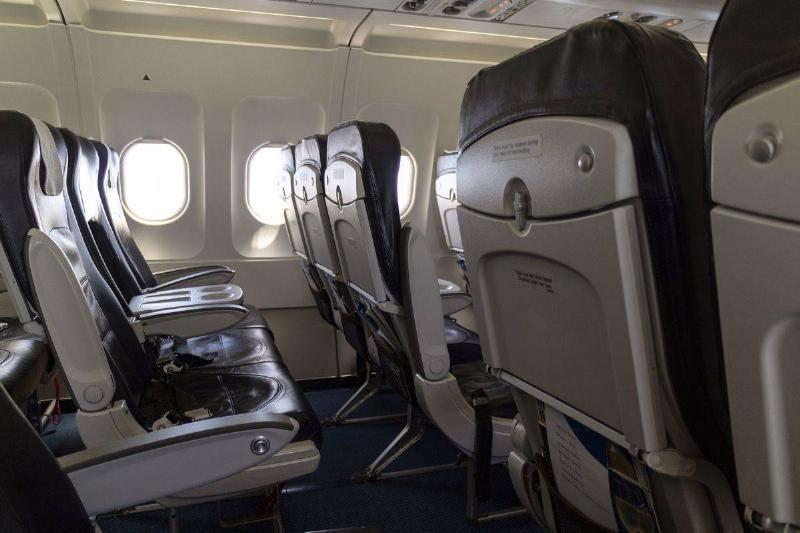 empty row of aircraft seats
