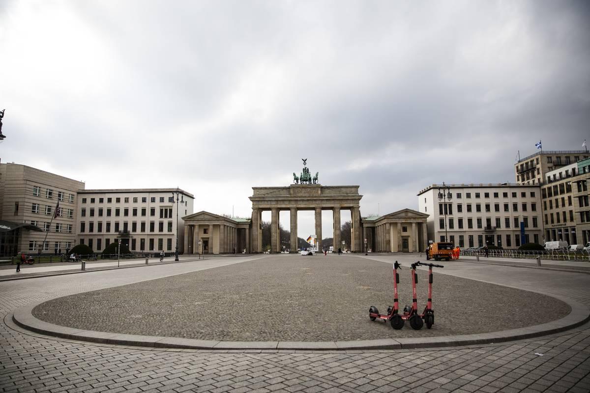 empty Pariser Platz by the Brandenburg Gate in Berlin