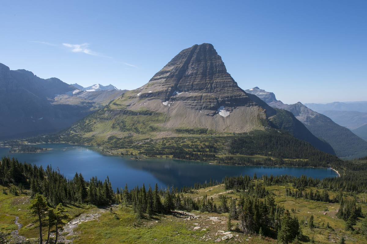 bearhat mountain above hidden lake in glacier nationa lpark