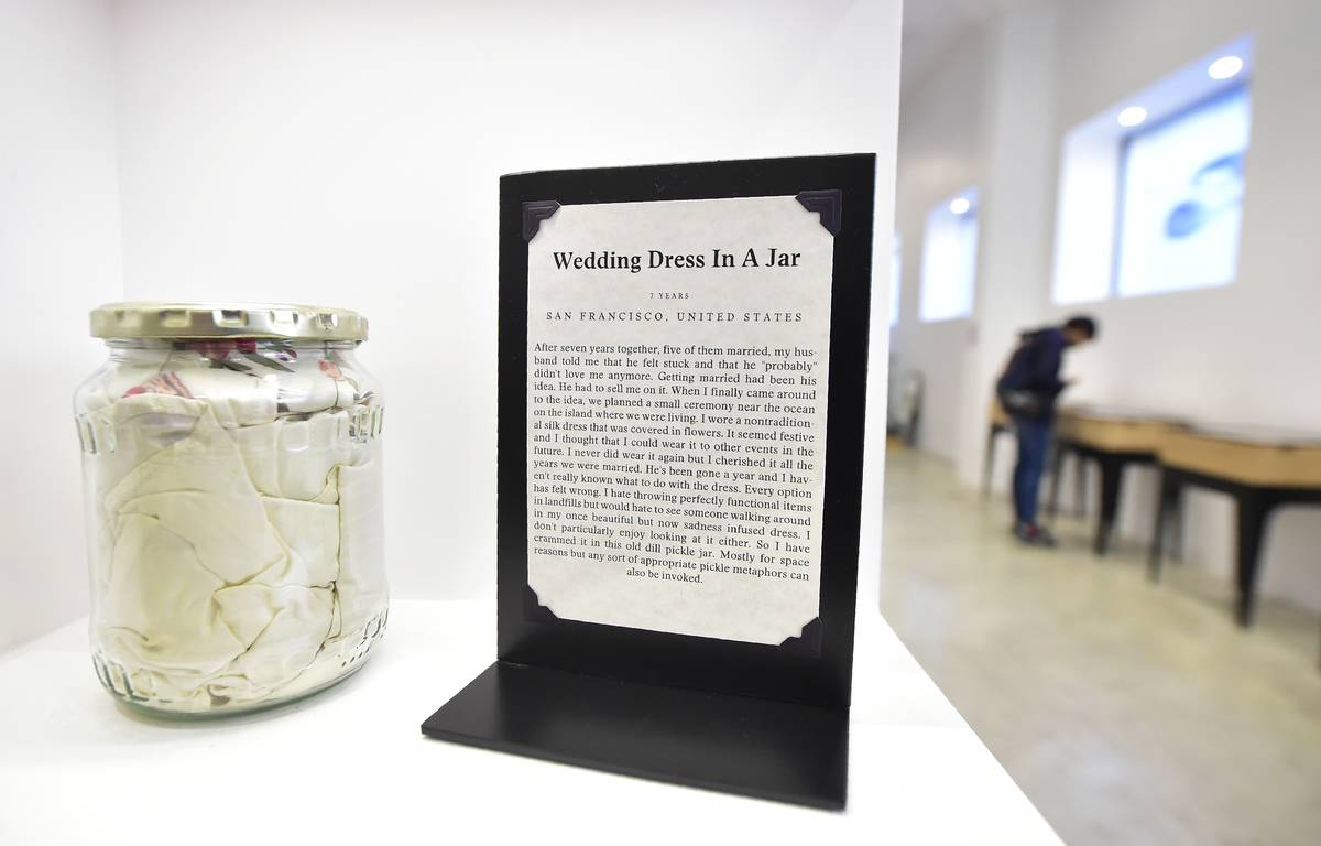 museum of broken relationships wedding dress in a jar