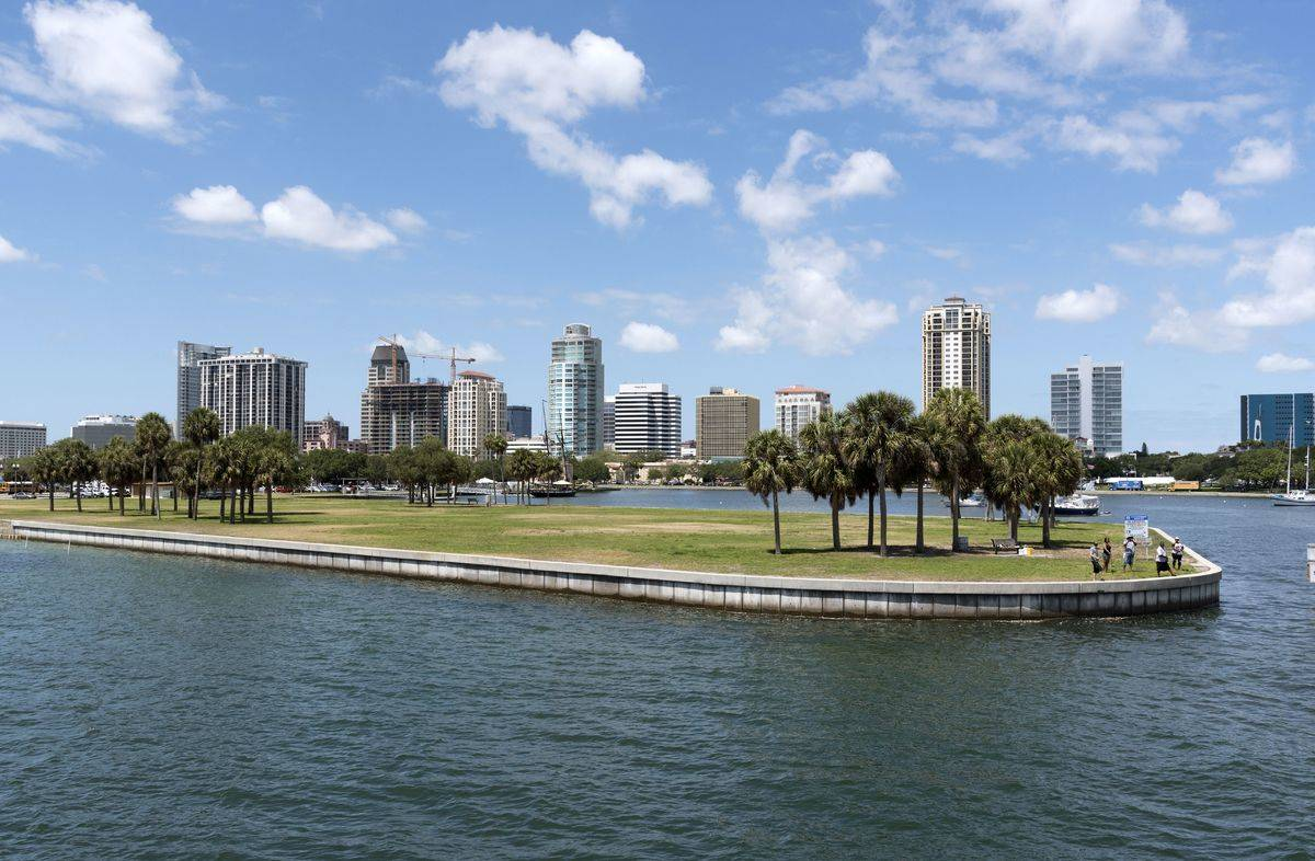 St Petersburg Florida skyline at harbor entramnce