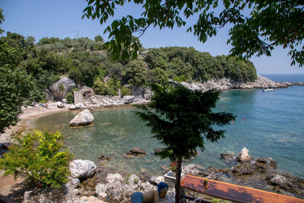 a gorgeous, secluded beach with lots of trees
