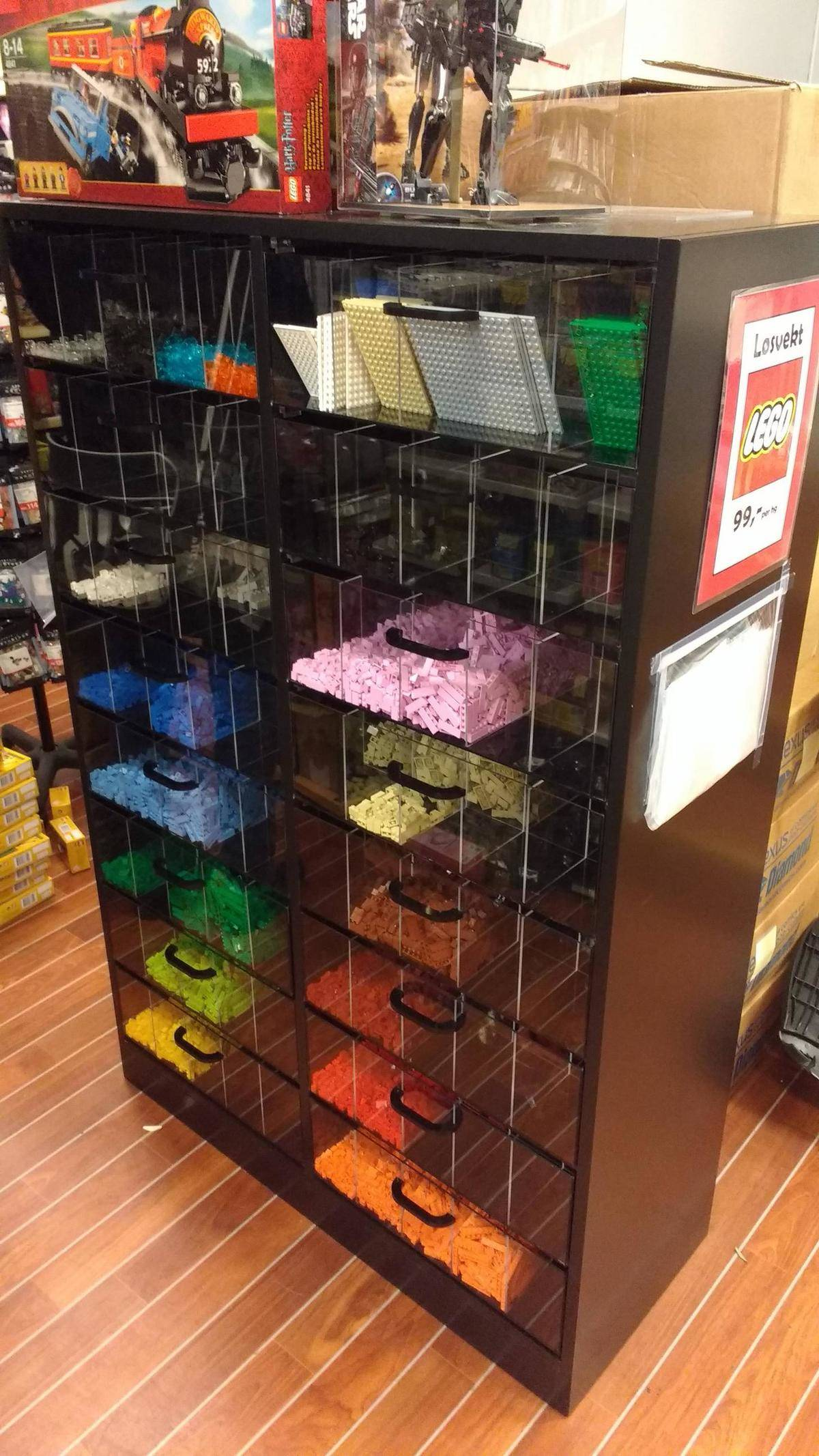 lego split up by color to be collected like bulk store bin